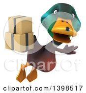 Clipart Of A 3d Mallard Drake Duck Holding Boxes On A White Background Royalty Free Illustration