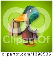 Clipart Of A 3d Mallard Drake Duck Holding Boxes Royalty Free Illustration