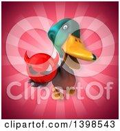 Clipart Of A 3d Mallard Drake Duck Holding A Devil Head Royalty Free Illustration