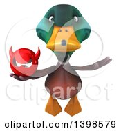 Clipart Of A 3d Mallard Drake Duck Holding A Devil Head On A White Background Royalty Free Illustration