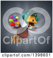 Clipart Of A 3d Mallard Drake Duck Holding Speech Balloons Royalty Free Illustration by Julos
