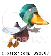 Clipart Of A 3d Mallard Drake Duck Holding A Plate On A White Background Royalty Free Illustration