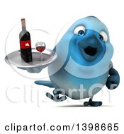 Clipart Of A 3d Blue Bird Serving Wine On A White Background Royalty Free Illustration