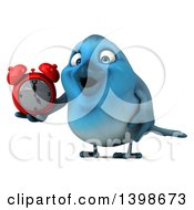 Clipart Of A 3d Blue Bird Holding An Alarm Clock On A White Background Royalty Free Illustration by Julos
