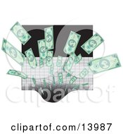 Cash Being Sucked Into A Black Hole Clipart Illustration by Rasmussen Images