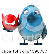 Clipart Of A 3d Blue Bird Holding A Devil Head On A White Background Royalty Free Illustration