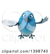 Clipart Of A 3d Blue Bird Holding A Plate On A White Background Royalty Free Illustration