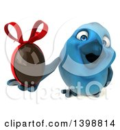 Clipart Of A 3d Blue Bird Holding A Chocolate Egg On A White Background Royalty Free Illustration