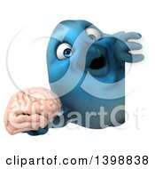 Clipart Of A 3d Blue Bird Holding A Brain On A White Background Royalty Free Illustration