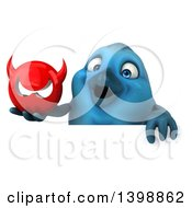 3d Blue Bird Holding A Devil Head On A White Background
