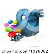 Clipart Of A 3d Blue Bird With Speech Balloons On A White Background Royalty Free Illustration