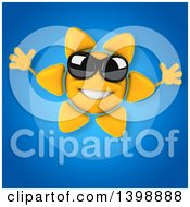 Clipart Of A 3d Sun Character Wearing Shades Royalty Free Illustration