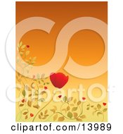 Pretty Red Poppy And Leaves Bordering An Orange Background Clipart Illustration by Rasmussen Images #COLLC13989-0030