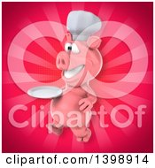 Clipart Of A 3d Chef Pig On A Pink Background Royalty Free Illustration