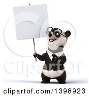 Clipart Of A 3d Business Panda On A White Background Royalty Free Illustration