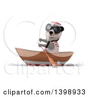 Clipart Of A 3d Panda Sailor Rowing A Boat On A White Background Royalty Free Illustration
