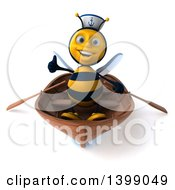 Clipart Of A 3d Sailor Male Bee On A White Background Royalty Free Illustration