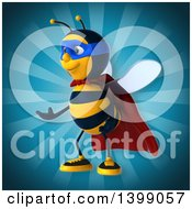 Clipart Of A 3d Super Bee Royalty Free Illustration by Julos