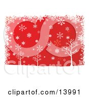 Winter Snowflakes Falling Over Bare Trees On A Red Background