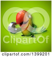 Clipart Of A 3d Green Macaw Parrot Royalty Free Illustration
