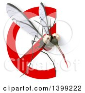 Clipart Of A 3d Mosquito And Prohibited Symbol On A White Background Royalty Free Illustration