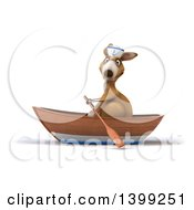 Clipart Of A 3d Sailor Kangaroo Rowing A Boat On A White Background Royalty Free Illustration
