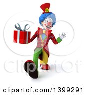 Clipart Of A 3d Colorful Clown Holding A Gift On A White Background Royalty Free Illustration