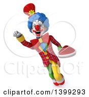 Clipart Of A 3d Colorful Clown Holding A Steak On A White Background Royalty Free Illustration