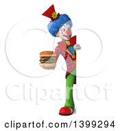 Clipart Of A 3d Colorful Clown Holding A Double Cheeseburger On A White Background Royalty Free Illustration