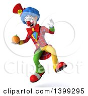 Clipart Of A 3d Colorful Clown Holding A Navel Orange On A White Background Royalty Free Illustration