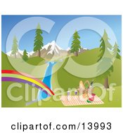 Picnic Basket Food And Blanket On A Hill Overlooking A Rainbow Stream Trees And Snow Capped Mountains Clipart Illustration by Rasmussen Images