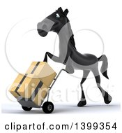 Clipart Of A 3d Black Horse Facing Left And Moving Boxes On A Dolly On A White Background Royalty Free Illustration