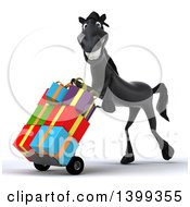 Clipart Of A 3d Black Horse Moving Gifts On A Dolly On A White Background Royalty Free Illustration