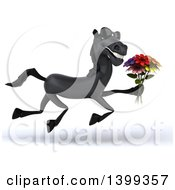 Clipart Of A 3d Black Horse Running With A Flower Bouquet On A White Background Royalty Free Illustration