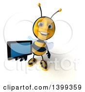 Clipart Of A 3d Male Bee Holding A Tablet Computer On A White Background Royalty Free Illustration