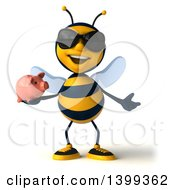 Clipart Of A 3d Male Bee Holding A Piggy Bank On A White Background Royalty Free Illustration