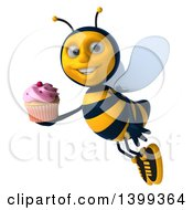Clipart Of A 3d Male Bee Holding A Cupcake On A White Background Royalty Free Illustration