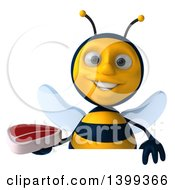 Clipart Of A 3d Male Bee Holding A Steak On A White Background Royalty Free Illustration
