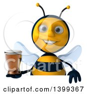 Clipart Of A 3d Male Bee Holding A Beer On A White Background Royalty Free Illustration