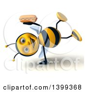 Clipart Of A 3d Male Bee Holding A Hot Dog On A White Background Royalty Free Illustration