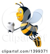 Clipart Of A 3d Male Bee Holding A Tooth On A White Background Royalty Free Illustration