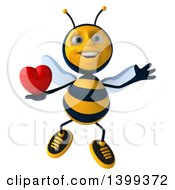 Clipart Of A 3d Male Bee Holding A Heart On A White Background Royalty Free Illustration