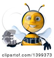 Clipart Of A 3d Male Bee Holding A Euro Symbol On A White Background Royalty Free Illustration