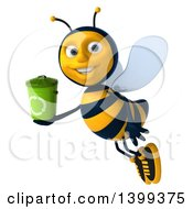 Clipart Of A 3d Male Bee Holding A Recycle Bin On A White Background Royalty Free Illustration