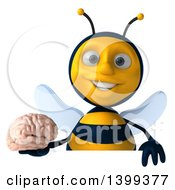 Clipart Of A 3d Male Bee Holding A Brain On A White Background Royalty Free Illustration