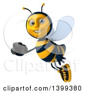 Clipart Of A 3d Male Bee Holding A Camera On A White Background Royalty Free Illustration