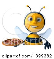 Clipart Of A 3d Male Bee Holding A Pizza On A White Background Royalty Free Illustration