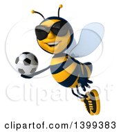 Clipart Of A 3d Male Bee Holding A Soccer Ball On A White Background Royalty Free Illustration