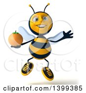 Clipart Of A 3d Male Bee Holding A Navel Orange On A White Background Royalty Free Illustration