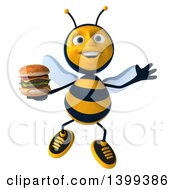 Clipart Of A 3d Male Bee Holding A Double Cheeseburger On A White Background Royalty Free Illustration